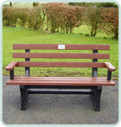 recycled plastic memorial bench