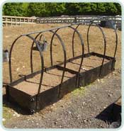 Intermediate Raised Bed With Frame in a row