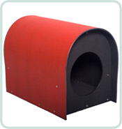 recycled plastic cat house in red